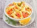 Рецепта Паста лингуини (или фетучини) със сметана, пушена сьомга и домати